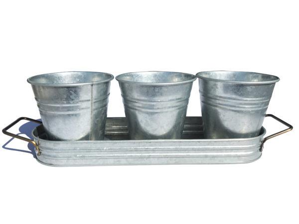 4 Piece Galvanized Flatware Caddy