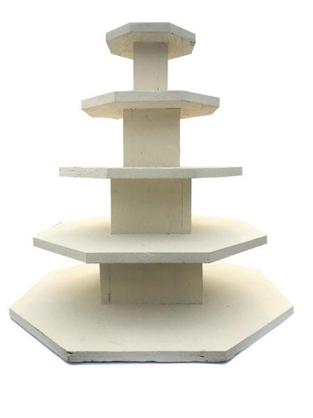 5 Tier Ivory Wood Dessert Stand
