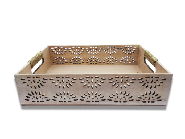 Light Wood Flatware Tray