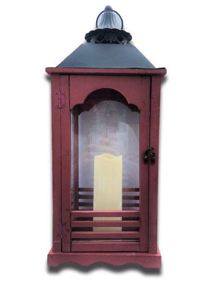 Shabby Chic Red Wood Lantern