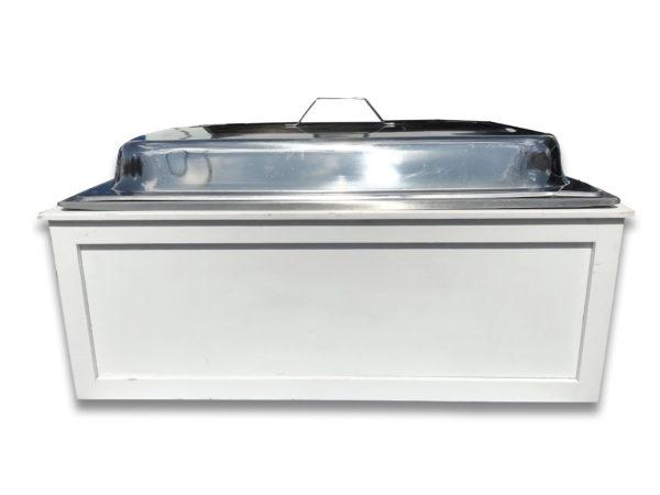8Qt White Wood Custom Chafer Box